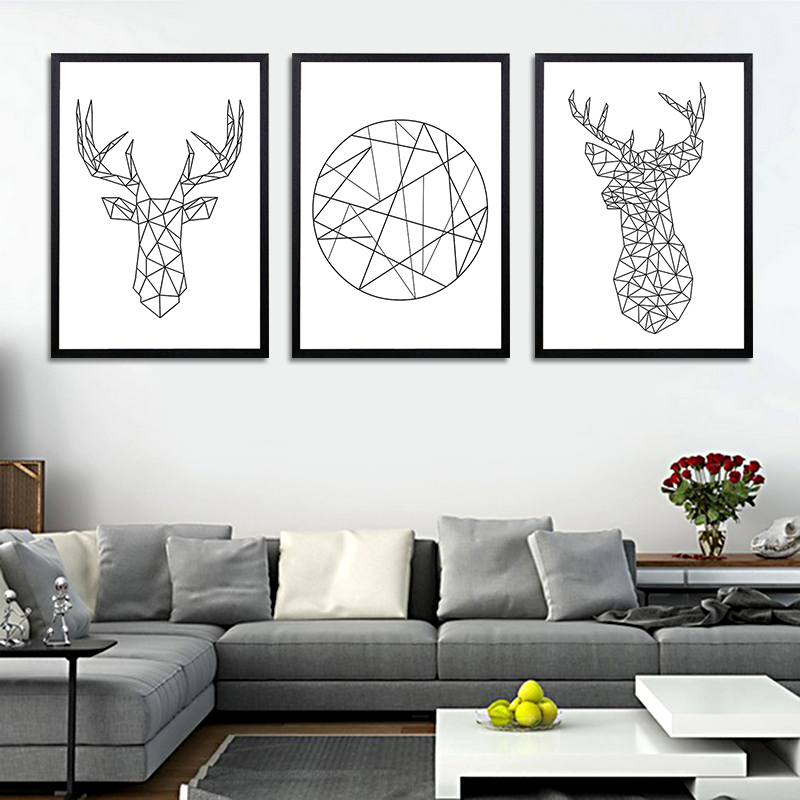 Geometric Deer Head Abstract Wall Picture Canvas Painting