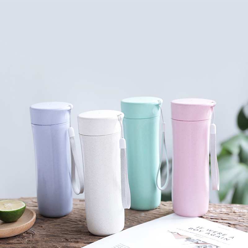 Wheat straw hand cup frosted plastic leak-proof cup portable men and women cute student personality cup