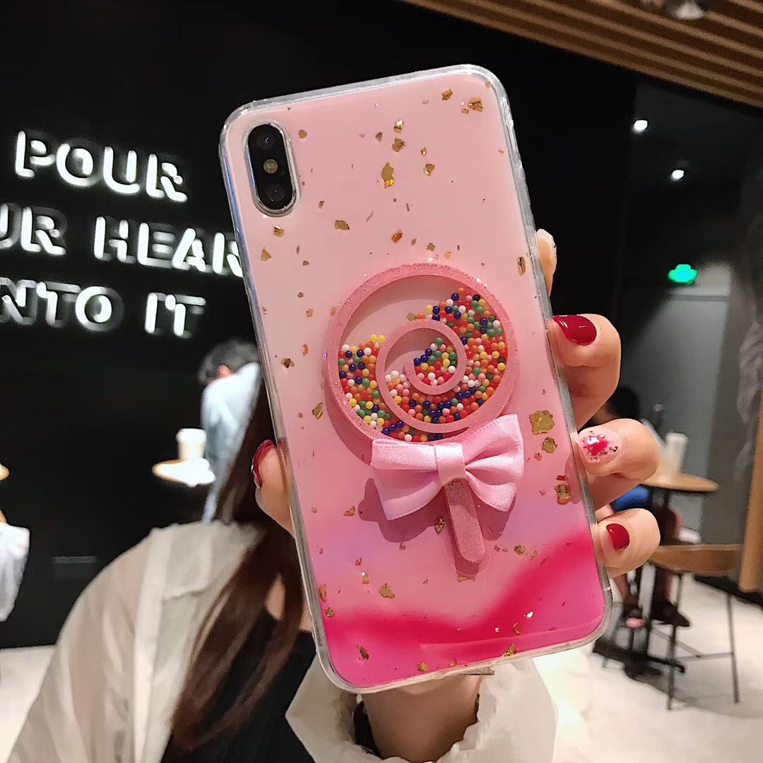 Cute Glitter Lollipop Phone Case For iPhone X XR XS Max Cases For iphone 6 6S 7 8 Plus Colorful Candy Gradient Soft TPU Cover in Fitted Cases from Cellphones Telecommunications