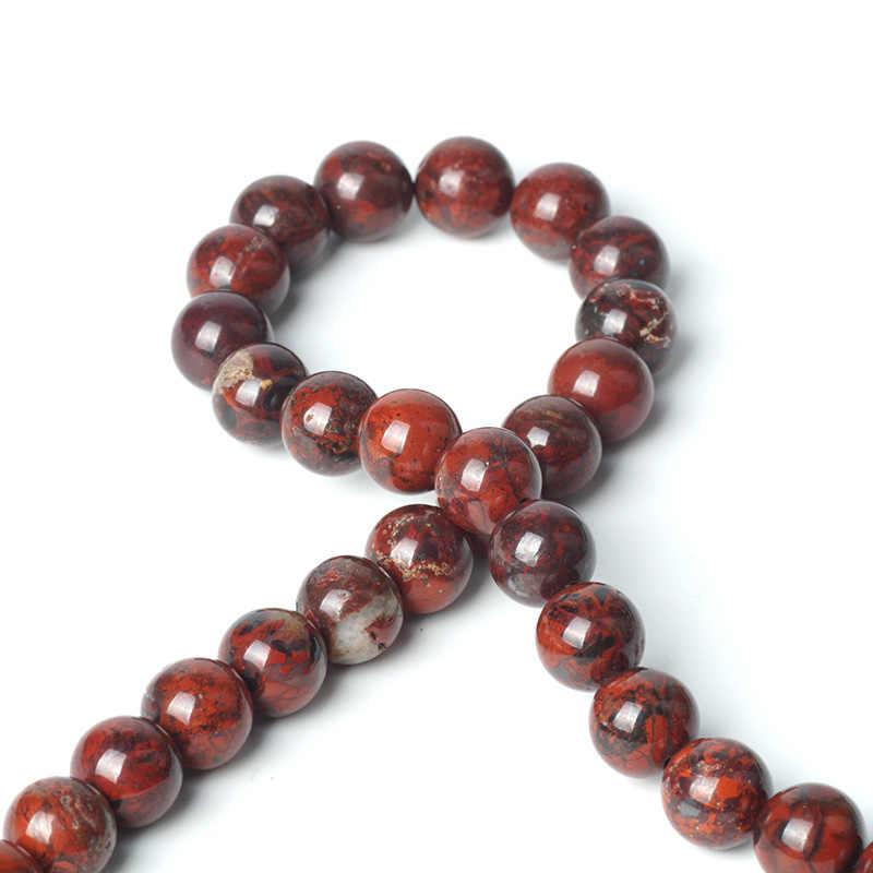 TopGoods หินธรรมชาติลูกปัดสีแดงเลือด Jasper อัญมณีรอบหลวมอัญมณีลูกปัด 6/8/10 มม. หมองคล้ำ - carnelian สีแดงสำหรับมุสลิมลูกปัด