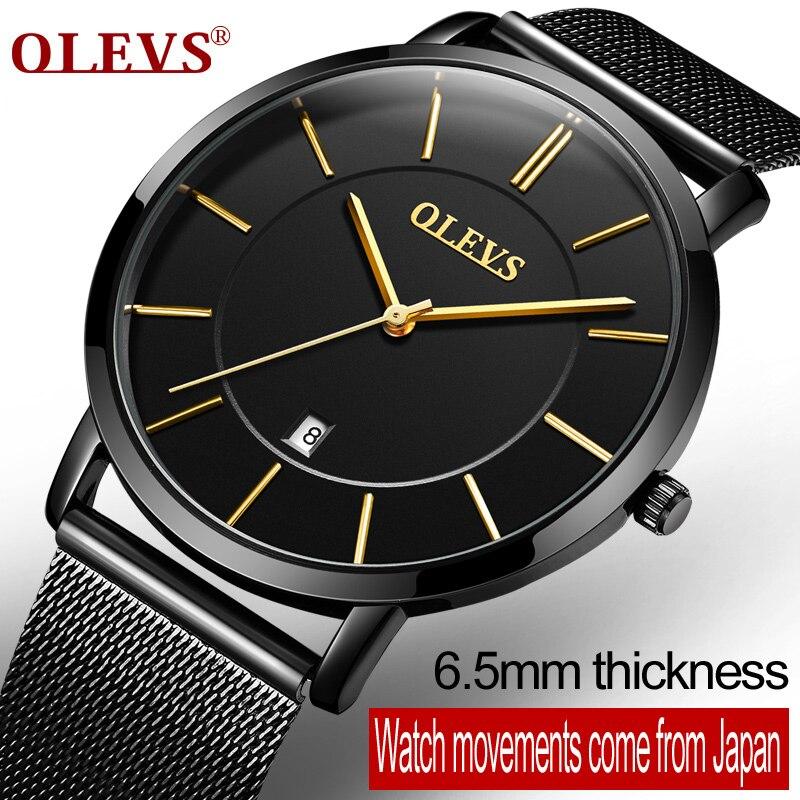 Olevs Luxury Date Auto Quartz Watches Waterproof Ultrathin Casual Wristwatches Mesh Steel Watchband Business montre homme G5869G