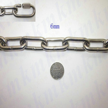 Wholesale ordinary 304 stainless steel 6MM diameter long link chain lifting use stainless steel chain