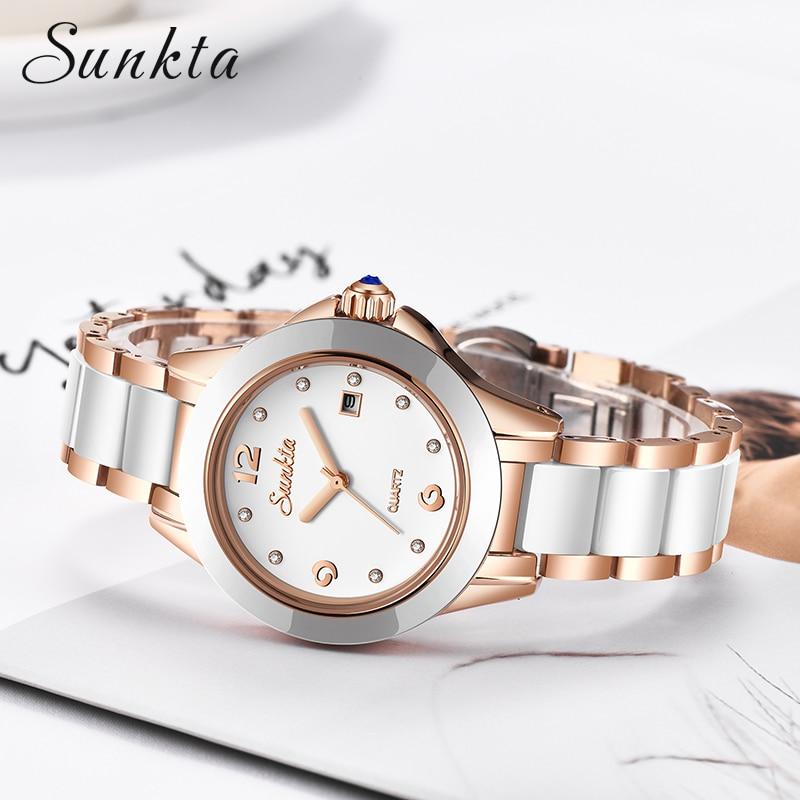 Relógios de Quartzo à Prova Água para Mulher Sunkta Moda Feminina Relógios Rosa Ouro Senhoras Pulseira Reloj Mujer 2020new Criativo Dfor Mod. 128893