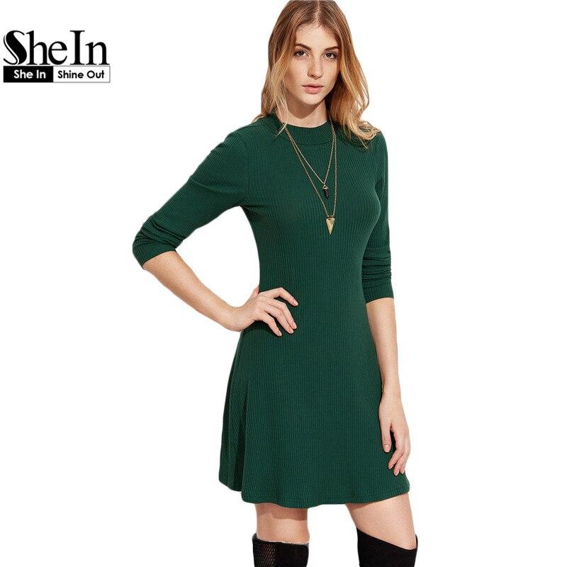 SheIn, Vestidos Ocasionales De Las Mujeres  Señoras Del Otoño Verde Llanura de C