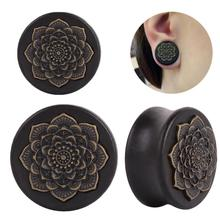 1 Pair Natural Wood Ear Plug Flower Tunnels Stretcher Expander Earring Gauges Piercing Ears Body Jewelry 10mm-25mm