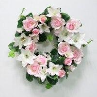 חתונת DIY פרחים מלאכותיים עלו לילי צמח עלים ירוקים מקל הסימולציה גפן וול המפלגה גרלנד דקור קישוט פרח משקוף