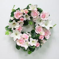 DIYแต่งงานดอกไม้ประดิษฐ์ดอกกุหลาบลิลลี่พืชใบสีเขียวจำลองอ้อยพวงมาลัยผนังพรรคตกแต่งเถาทั...