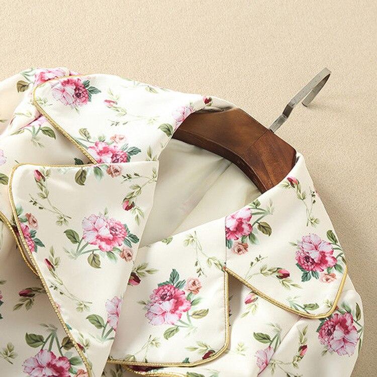 Kragen Zweireiher Mantel Lange Windjacke Drehen Mode Graben Elfenbein Floral Unten Frauen Gedruckt Langarm Ax0q1z