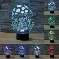 Touch Sensor Switch Light 7 Colors Changing Nightlight 3D Lamp Mushroom USB Table Light LED Lamp