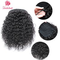 Beauhair Brazilian 1 piece 12 16Kinky Curly Ponytail clip ins Drawstring Ponytail Human Hair extensions For Women Non Remy Hair