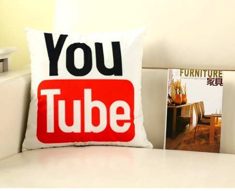 Instant Message APP Cushions Cover Facebook YouTube Skype Media Logo Cushions Cover Velvet Fabric Bed Cushions Cover 40x40cm B26