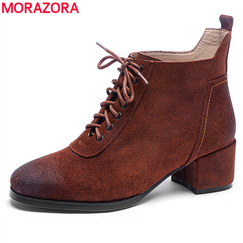 MORAZORA 2018 new fashion ankle boots for women autumn suede leather boots lace up square heels casual shoes woman black morazora 2018 new arrival genuine leather ankle boots for women lace up zipper autumn boots fashion punk shoes woman black