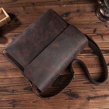 Vintage Genuine Crazy Horse Leather Men's Handbags Messenger Brown Man Business Retro Shoulder Sling laptops Crossbody Bag