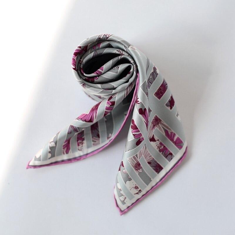 Purple Floral Print Small Square Silk Scarf Women Ladies 100% Twill Silk Scarfs Head Neck Scarves Wraps 52x52cm