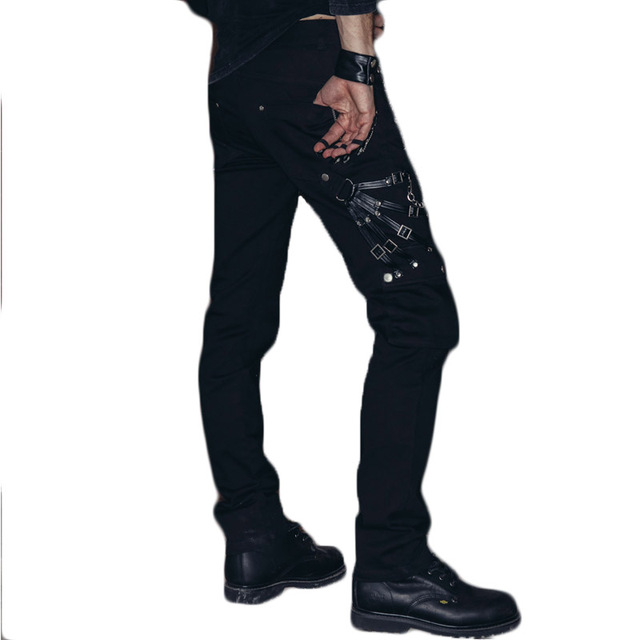 597b0d2b49 US $55.84 20% OFF|Gothic Steampunk Mens Cotton Pants Trousers Black Denim  Pantalon Homme Fitted Male Pantalones Large Size Jeans Pant-in Skinny Pants  ...