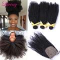 Top 7A Brazillian Kinky Curly Virgin Hair With Closure 3 Bundles With Silk Closure Afro Kinky Curly Hair With Silk Base Closures