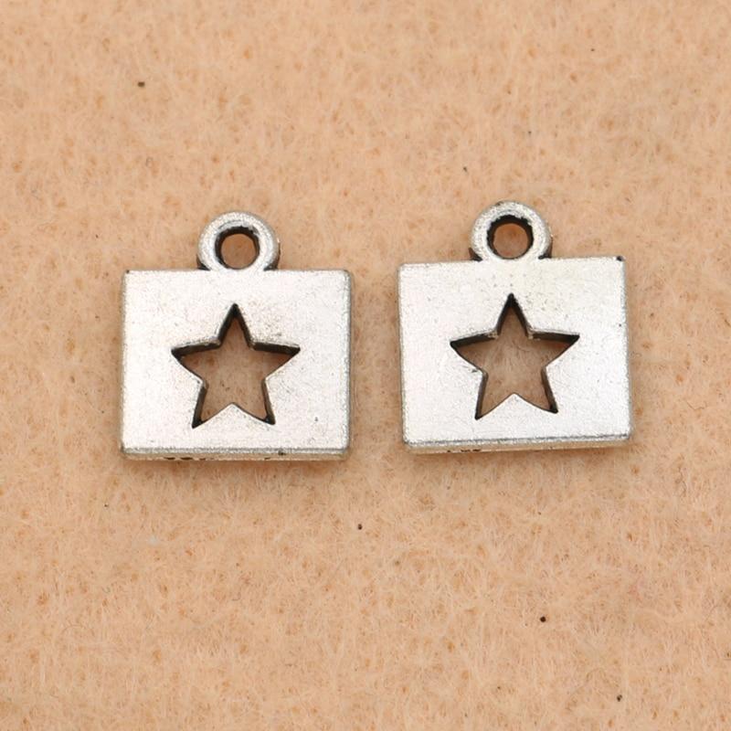 3591de9cf60c 15 piezas plata tibetana plateó Tiny estrella colgantes del encanto de la  joyería Diy joyería que hace los accesorios artesanía 12x11mm