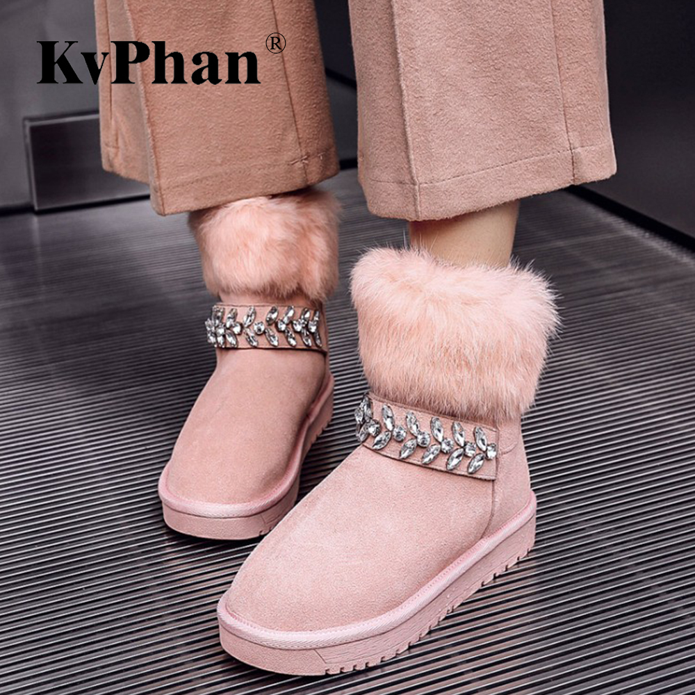 Warm Real Fur Crystal Snow Boots for Women KvPhan New Size 34-43 Black Pink Round Toe Solid Slip-on Cow Suede Winter Women Shoes inc new solid deep black women s size 2 tapered leg two pocket pull on pants $69