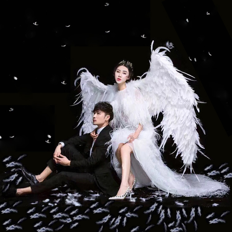 Costumed beautiful white feather angel wings for Fashion show Displays wedding shooting props Cosplay game costume