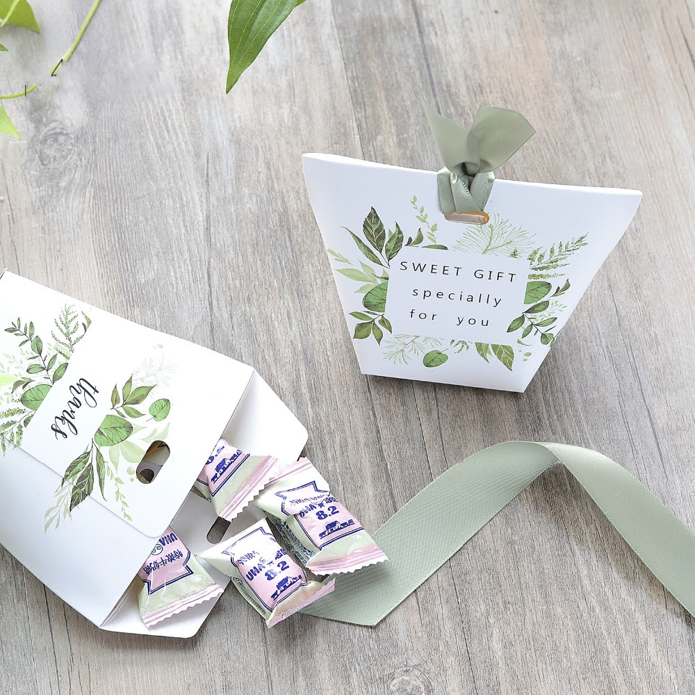 100pcs New European Wedding Favors Green leaves Candy Boxes ...