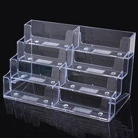 8 Lattice Multilayer Card Storage Box Desktop Clear Transparent Acrylic Business Card Holder Countertop Display Stand