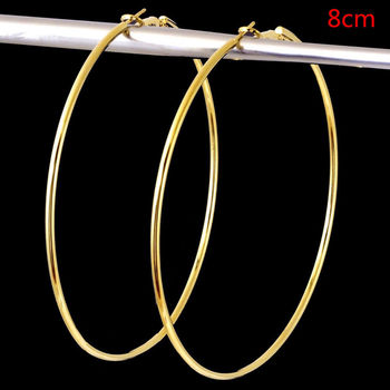 4 Size Women Gold Silver Color Metal Big Circle Smooth Large Big Round Hoop Earings For Women Sexy Fashion Jewelry 4