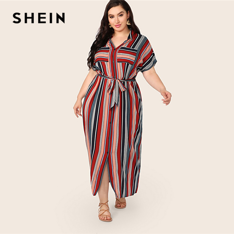 SHEIN Plus Size Multicolor Pocket Patched Belted Striped Shirt Dress 2019 Women Summer Casual Button Collar Slit Long Dresses