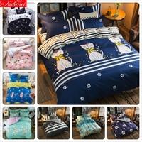 Cute Kitty Cat Deep Blue Stripe 4pcs Bedding Set Full King Queen Double Size Duvet Cover 1.5m 1.8m 2.0m 2.2m Bed Sheet Bedlinens