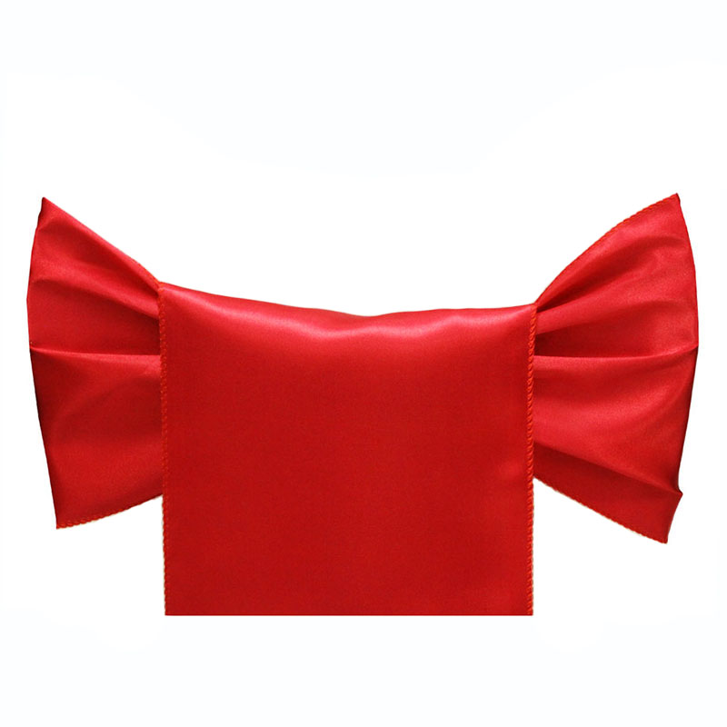 Haute qualité rouge Satin chaise ceintures arc pour les mariages événements fête hôtel anniversaire Banquet décoration Satin ceintures cravate papillon-in Ceintures from Maison & Animalerie    1