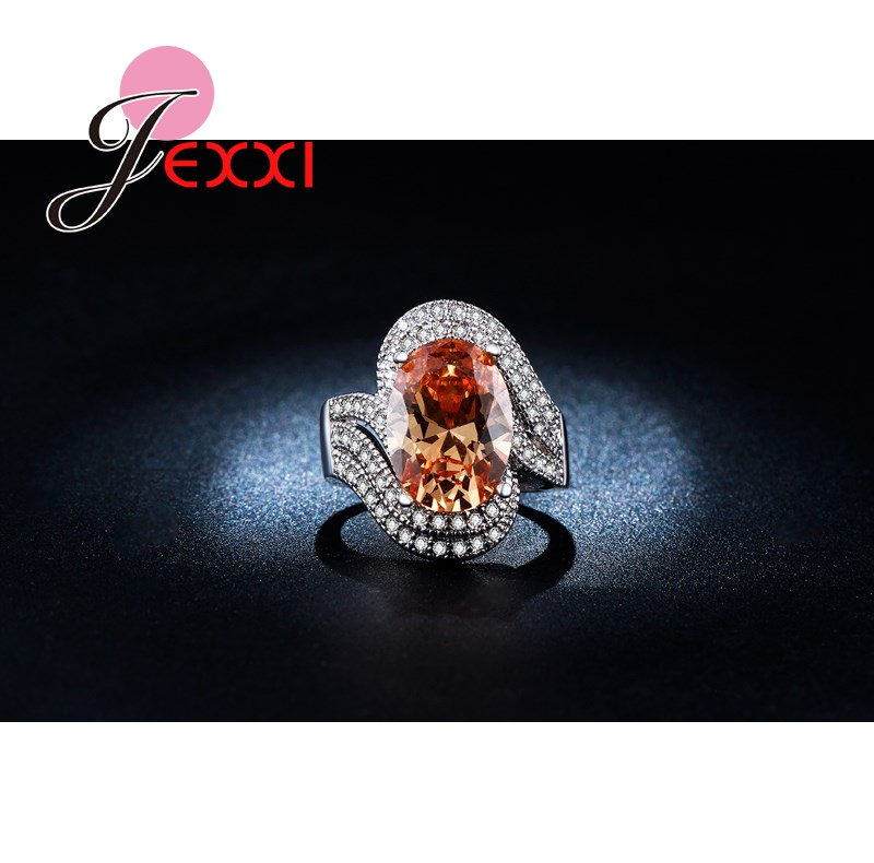 JEXXI Super Luxury 925 Sterling Silver Ring Champagne Oval Cut CZ Fashion Jewelry Engagement Wedding Rings Women