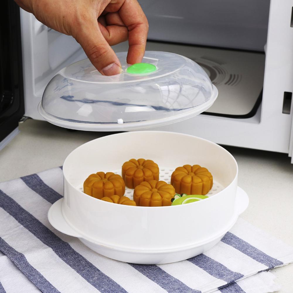 Single-Layer Microwave Oven Steamer Plastic Round Steamer Microwave Steamer With Lid Cooking Tool Steamer Basket