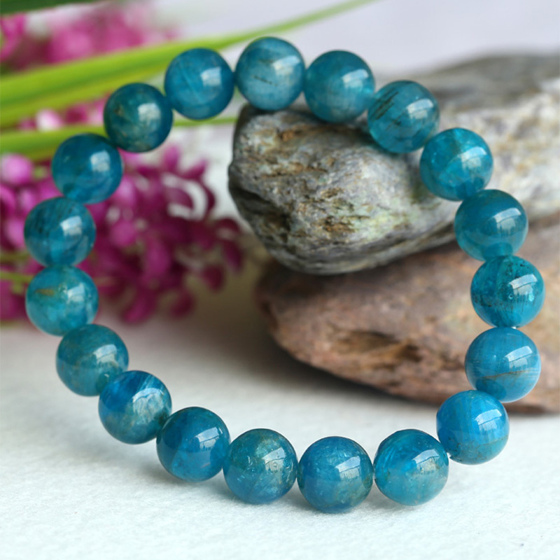 Discount Wholesale Natural Green Blue Apatite Crystal Stretch Finish Bracelet Round Beads 10mm 04148 natural green phantom crystal 10mm semi everlast crystal beads diy bracelets 40 cm string