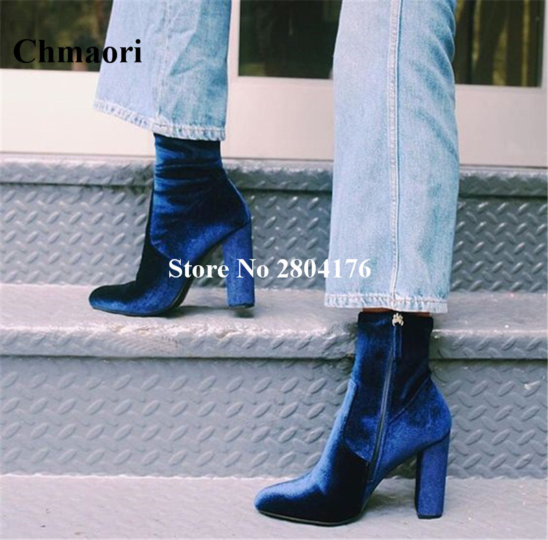 Hot selling blue Women ' s Spring Autumn Ankle Boots High Heel Pointed Zipper Shoes Solid Square Heel Pointed Toe Flock Shoes