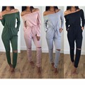 2016 новая мода лето случайный сексуальный твердые slash с длинным рукавом тощий лодыжки-длина комбинезоны vestidos боди