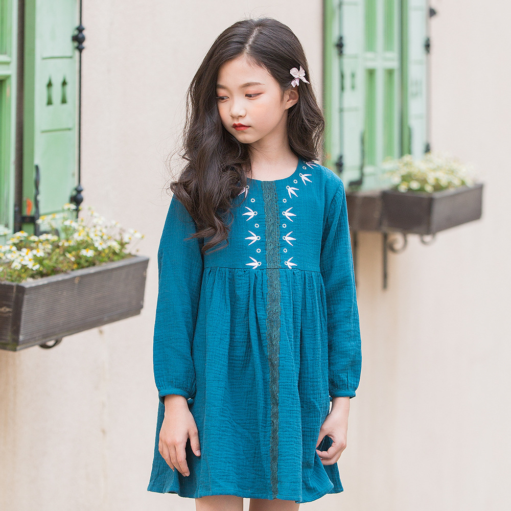 Baby Girls Dress Cotton Linen Long Sleeve Embroidery School Kids Dress Autumn Girls Princess Dresses for Girls Costume 10 Years toddlers girls dots deer pleated cotton dress long sleeve dresses page 10