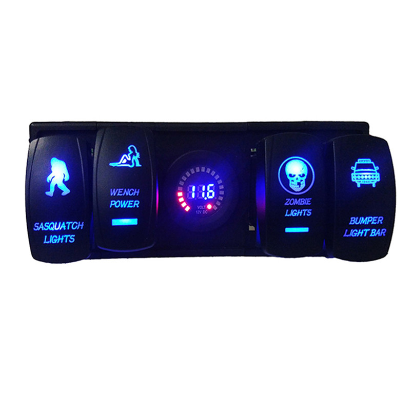 Led Digital Voltmeter Laser Rocker Switch Panel With Rocker ARB Plug For Car Boat Truck RV diy rocker switch with 2 x cable for car vehicle black 3a 250v 6a 125v