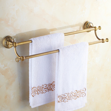 цена на Antique Brass Towel Holder Wall Mounted Kitchen Bathroom Double Towel Bar Holder Rack Bathroom Accessories ZD926