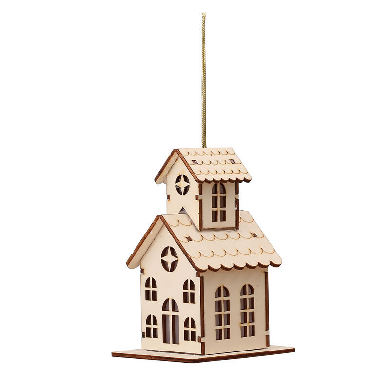 2017 new christmas tree decorations mini led wooden house for New xmas decorations