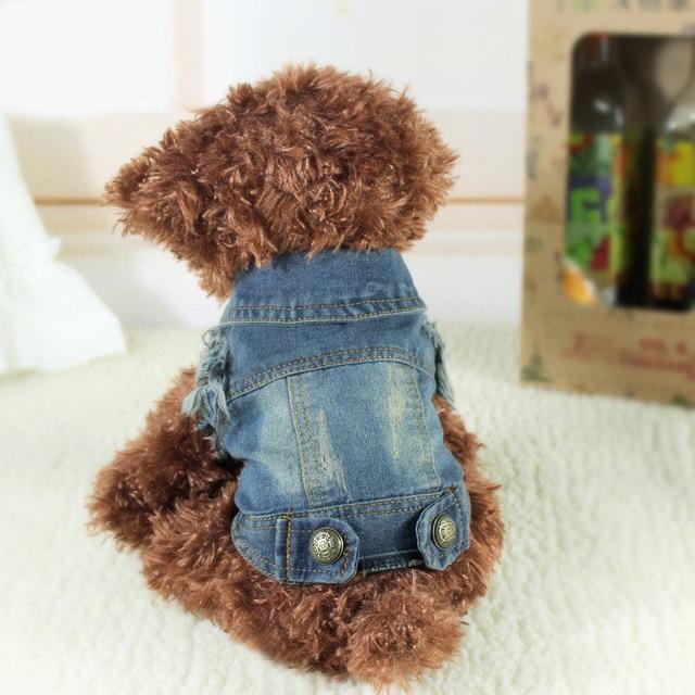 Noul designer de îmbrăcăminte de îmbrăcăminte pentru câini de companie Pet Cat Puppy Coat Denim Vest Costum Personalizat Cowboy Îmbrăcăminte pentru câini mici Chihuahua 10A