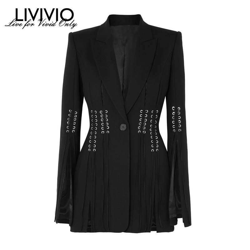 [LIVIVIO] Streetwear Tunic Lace Up Waisted Long Sleeve Black Notched Collar Blazer Women Coat 2019 Autumn Female Fashion Clothes