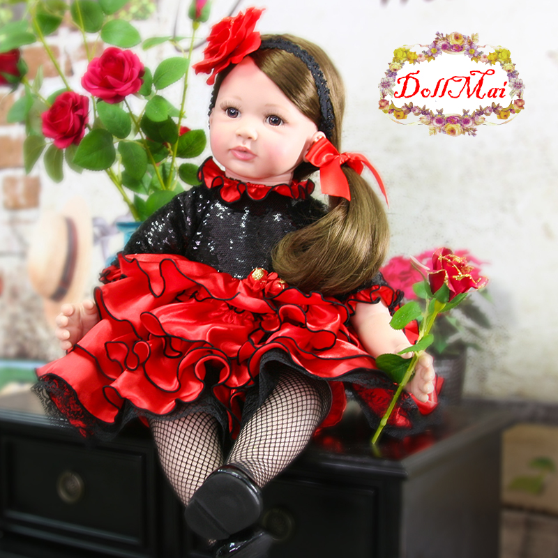60cm soft Silicone Reborn Girl Baby Doll Toys 24inch Newborn Princess Toddler Babies Dolls Play House Toy Doll Xmas Gift Bonecas