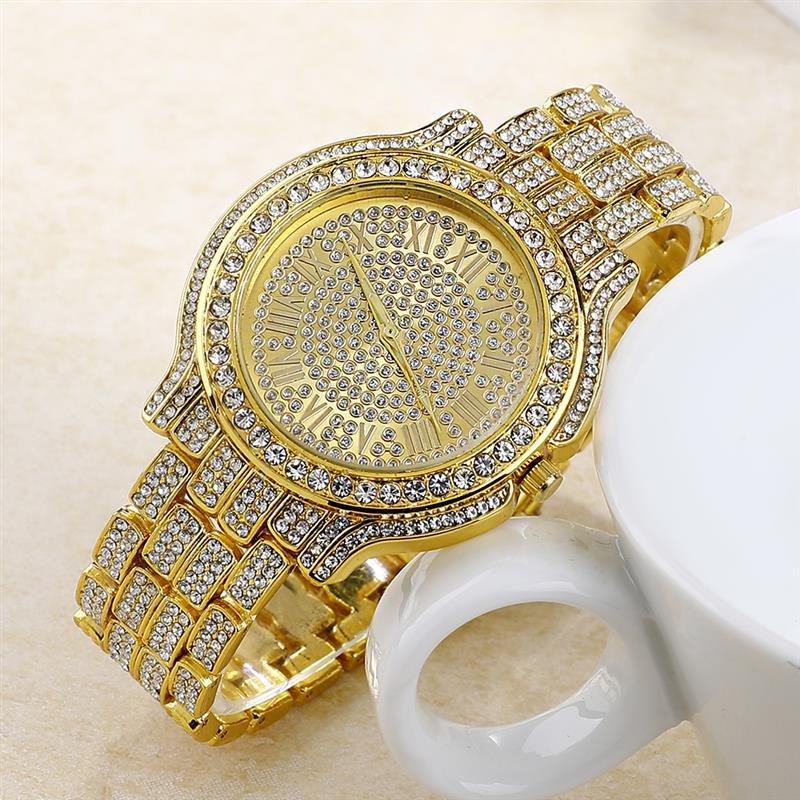 Fashion Bling Diamond Watch Women'S Stainless Steel Quartz Wristwatch Ladies Luxury Gold Watches Rhinestone Reloj Mujer