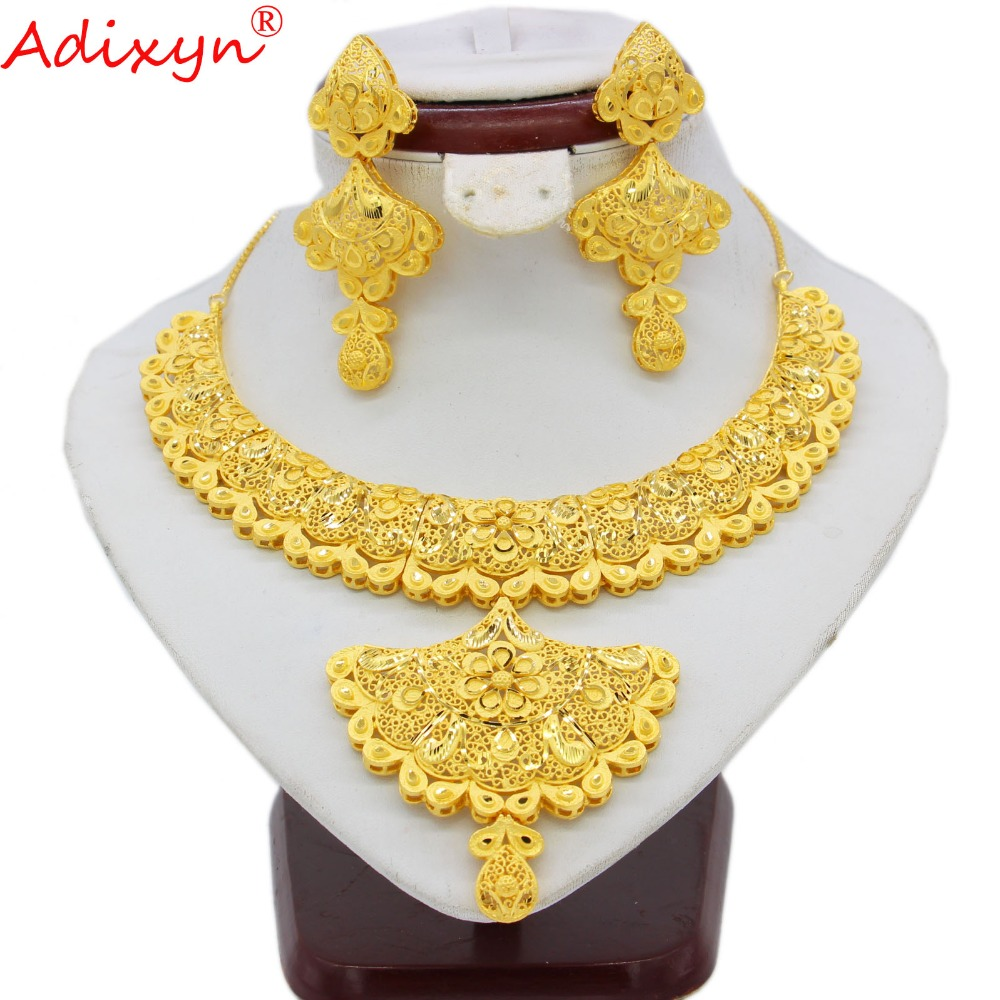 Adixyn Sector Shape African Jewelry Sets for Women Gold Color Dubai/Saudi/Arabia/India Bride Wedding Gifts N09066 adixyn dubai gold bangles fashion jewelry for women men gold color bangles bracelets african india middle east items free box