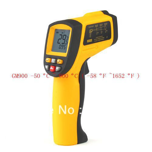 -50-900C Digital Infrared Thermometer Non-contact LCD Industrial Laser Gun -58-1652F IR Pyrometer Temperature Meter GM900 holdpeak hp 1320 digital laser infrared ir thermometer gun meter non contact 50 1320c 58 2480f temperature tester pyrometer