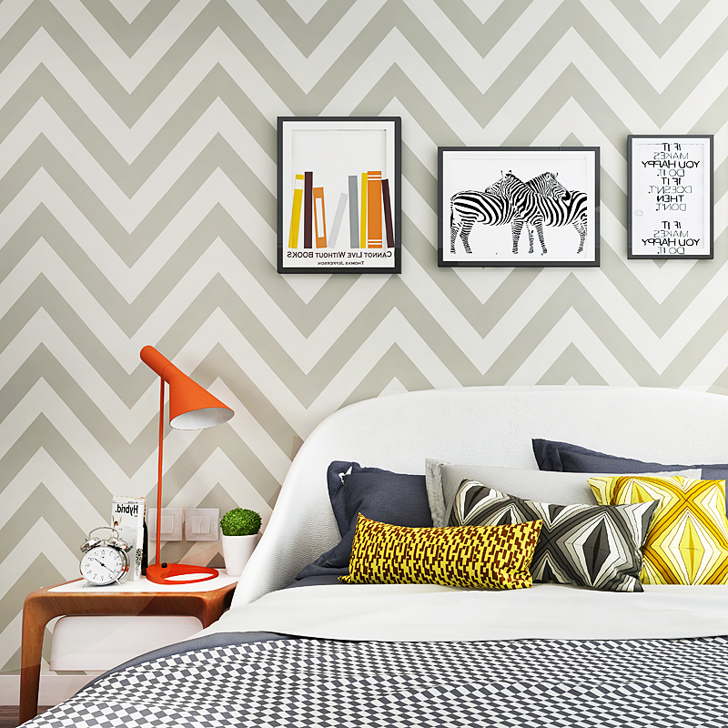 Nordic Abstract Geometric Stripe Wallpaper Modern Blue