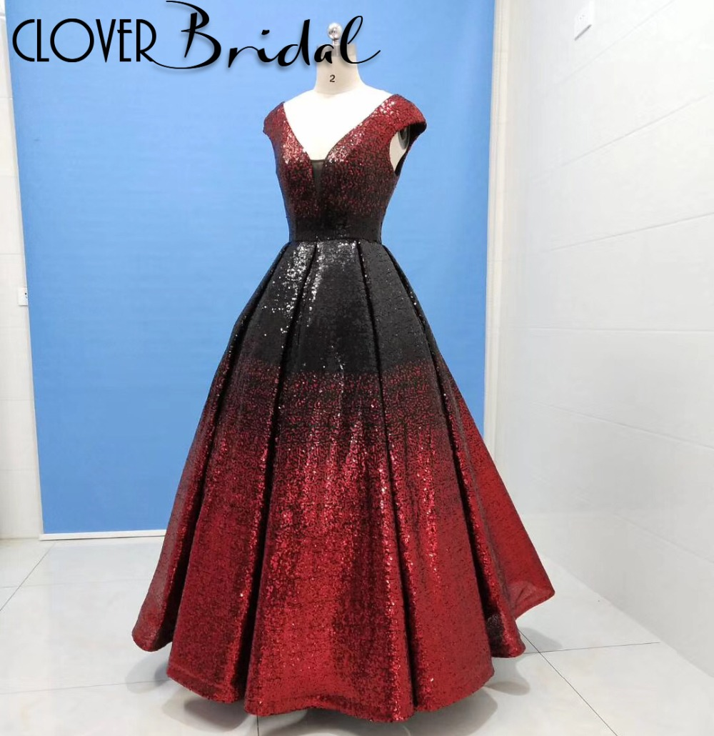 CloverBridal factory photos V neck + back floor length black +red sequin   prom     dress   vestido de formatura robe de soiree