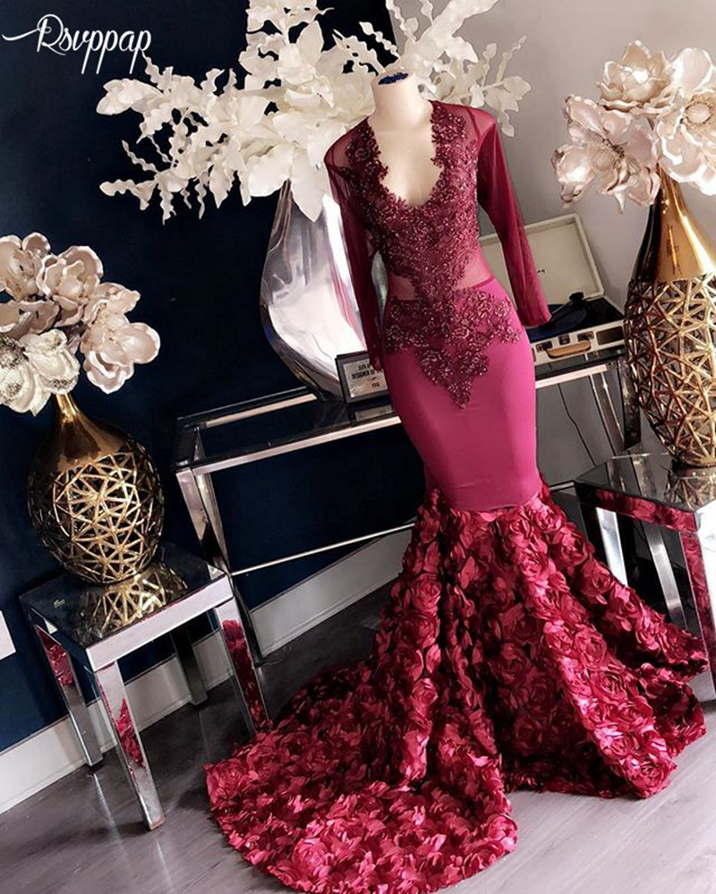 Long Elegant   Prom     Dresses   2019 New Arrival Long Sleeves Beaded Lace African Flowers Black Girl Burgundy Women   Prom     Dress   Gowns