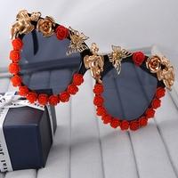 Fashion Oversized Women S Girls Sunglasses Retro Decor Floral Flower UV Glasses Brand Design Sun Glasses