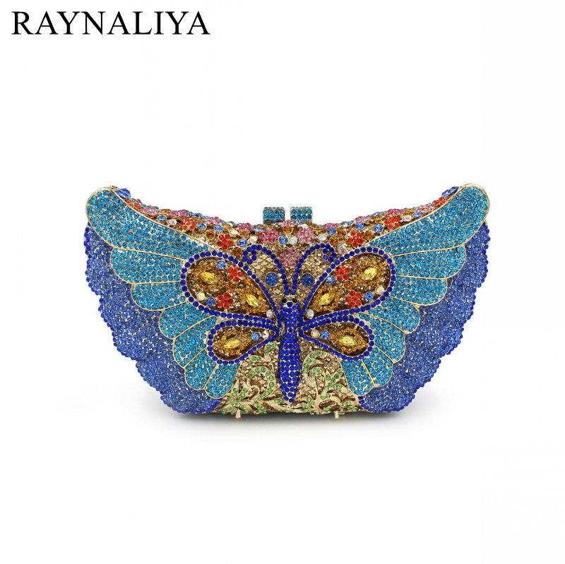 Women Butterfly Crystal Clutch Bag Brand Design Wedding Party Prom Purse Ladies Hard Case Evening Clutches Handbag SMYZH-E0208