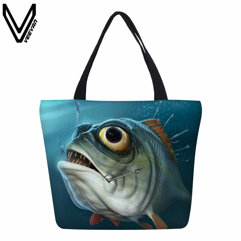 Animal Shopping Fish Printing Canvas Tote Large Handbags Lady's Daily Beach Bags